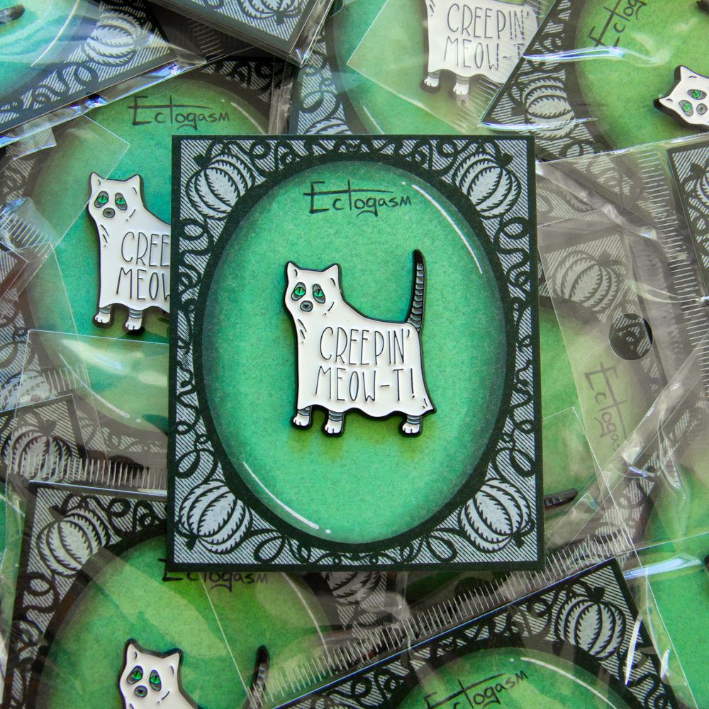 A collectible spooky ghost pin by Ectogasm for men and women's fashion.