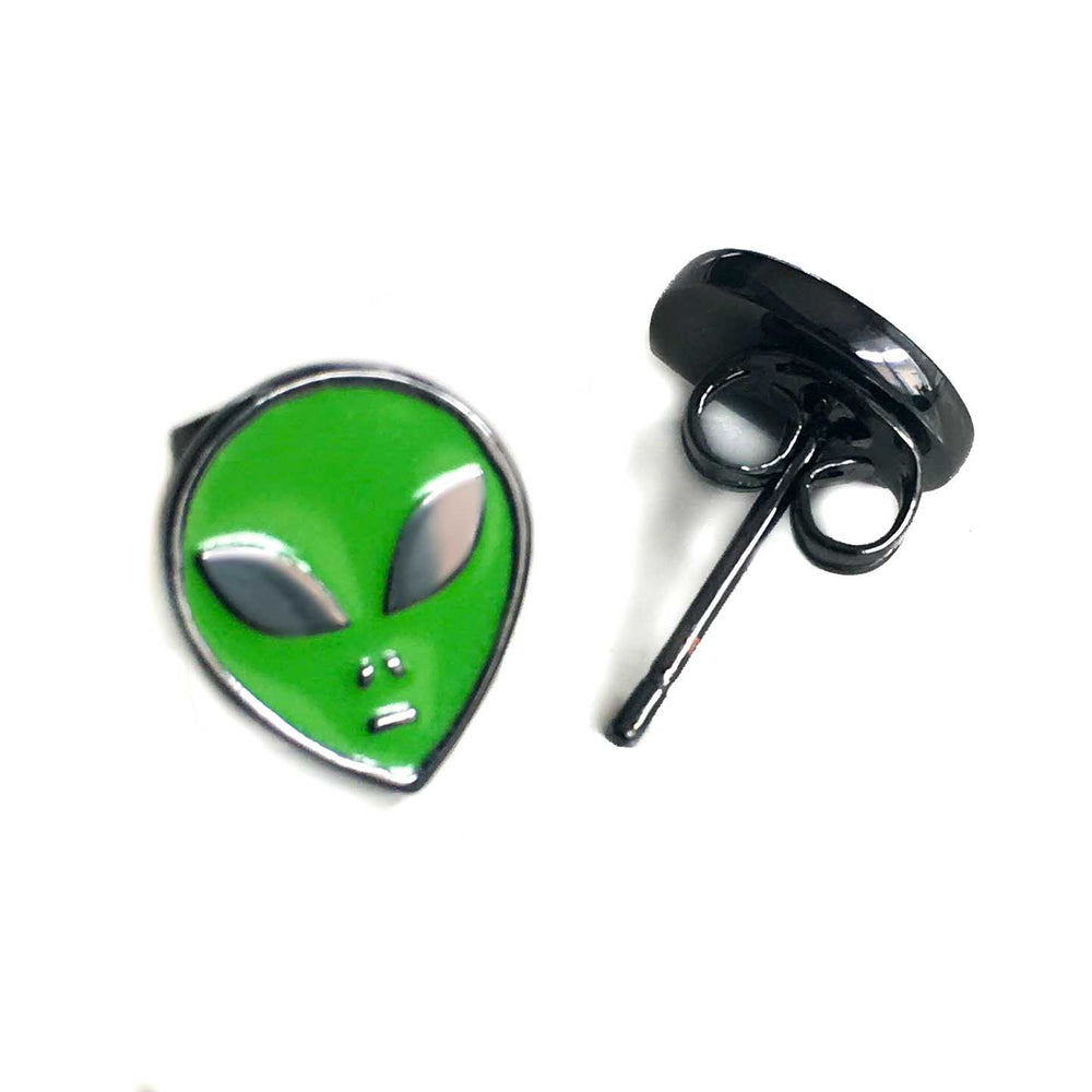Butterfly clasp stud earrings of alien heads in green and black.