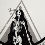 "An eclectic, museum grade print of a skeleton with the occult quote, ""As Above, So Below""."