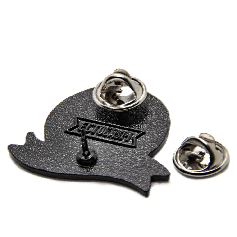 Metal clasps on the back of a unique pop culture enamel pin, designed by Ectogasm.