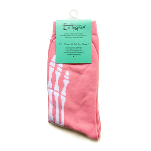 Pink skeleton bone socks for women's alternative fashion.