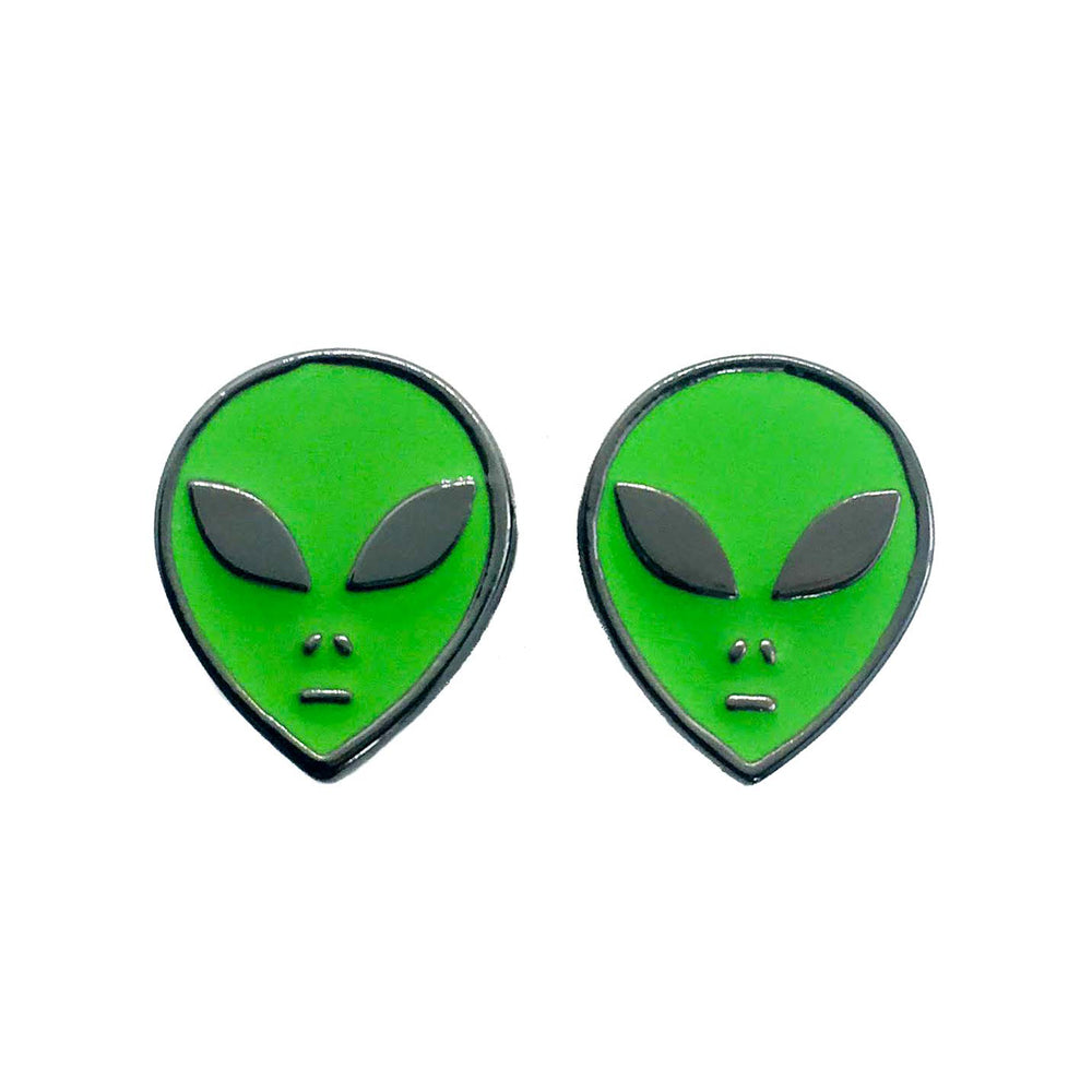 Women's green alien enamel stud earrings for grunge fashion.