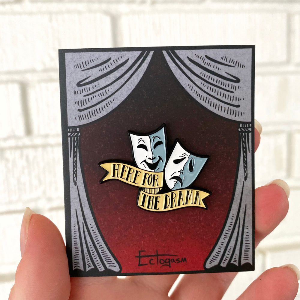 An enamel pin with a funny quote for actors and actresses.