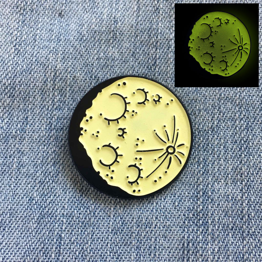 Glow in the Dark Moon Enamel Pin