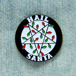"""Hail Santa"" inverted pentacle Christmas enamel pin."