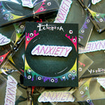"Women's rainbow ""Anxiety"" lapel pin for fashion."