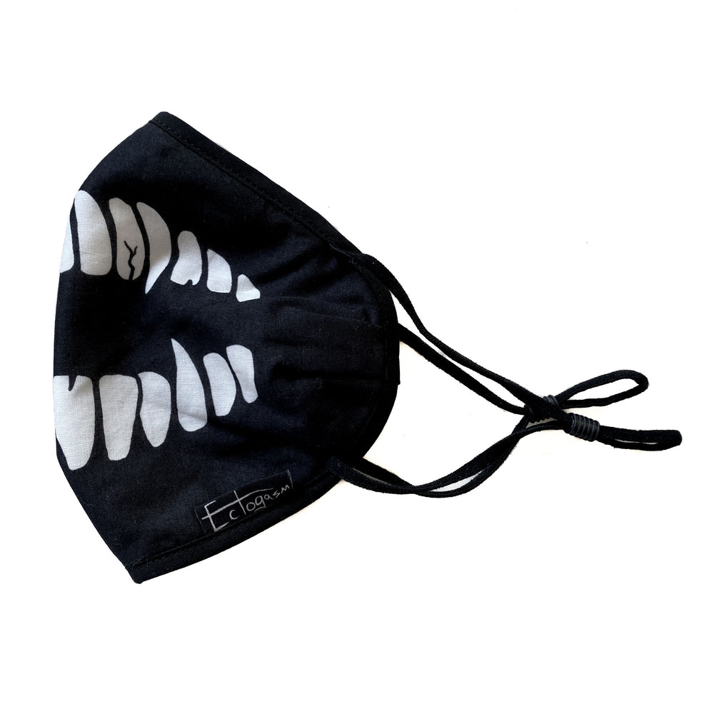 A reusable cotton face mask for adults.