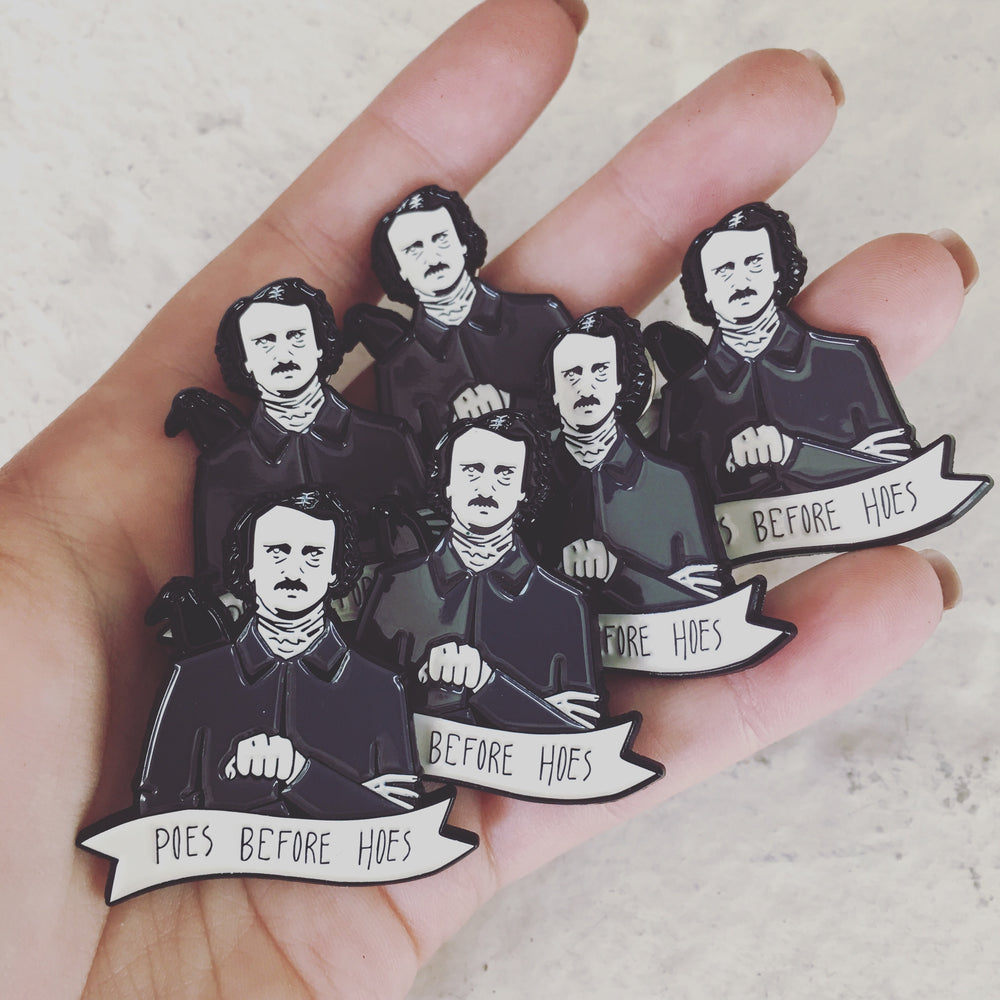Funny Edgar Allan Poe literary brooches for Halloween.