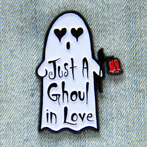 """Just a Ghoul in Love"" Ghost Enamel Pin"