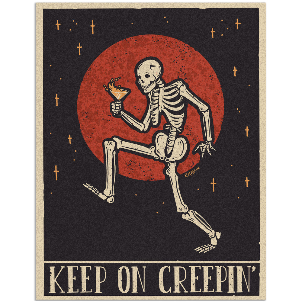A spooky art print of a skeleton dancing through the night with a drink in its hand. Made with red, black, and cream colors.