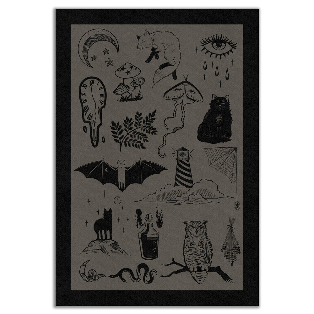 A  brown and black art print for unisex eclectic home decor.