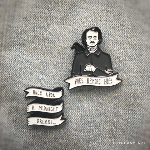 Edgar Allan Poe themed enamel pins.