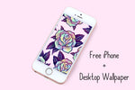 Rainbow rose design on an iphone screen.