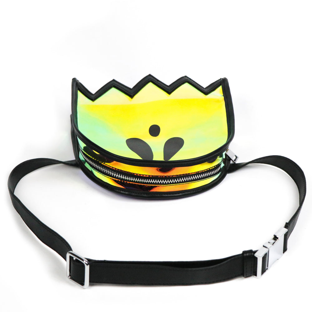 Vegan leather and rainbow fanny pack for women.