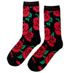 Unisex crew socks with red tattoo roses and thorns.
