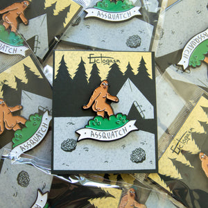 A funny lapel pin for men and women of sasquatch.