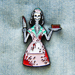 1950's Bloody Skeleton Waitress Horror Enamel Pin