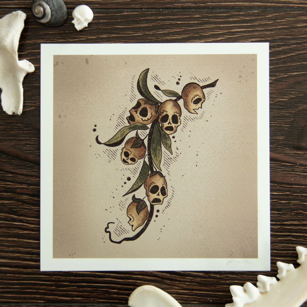A witchy art print of snapdragon skulls.