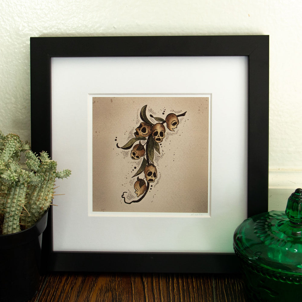 A square art print of a witchy botanical plant for goth home decor.