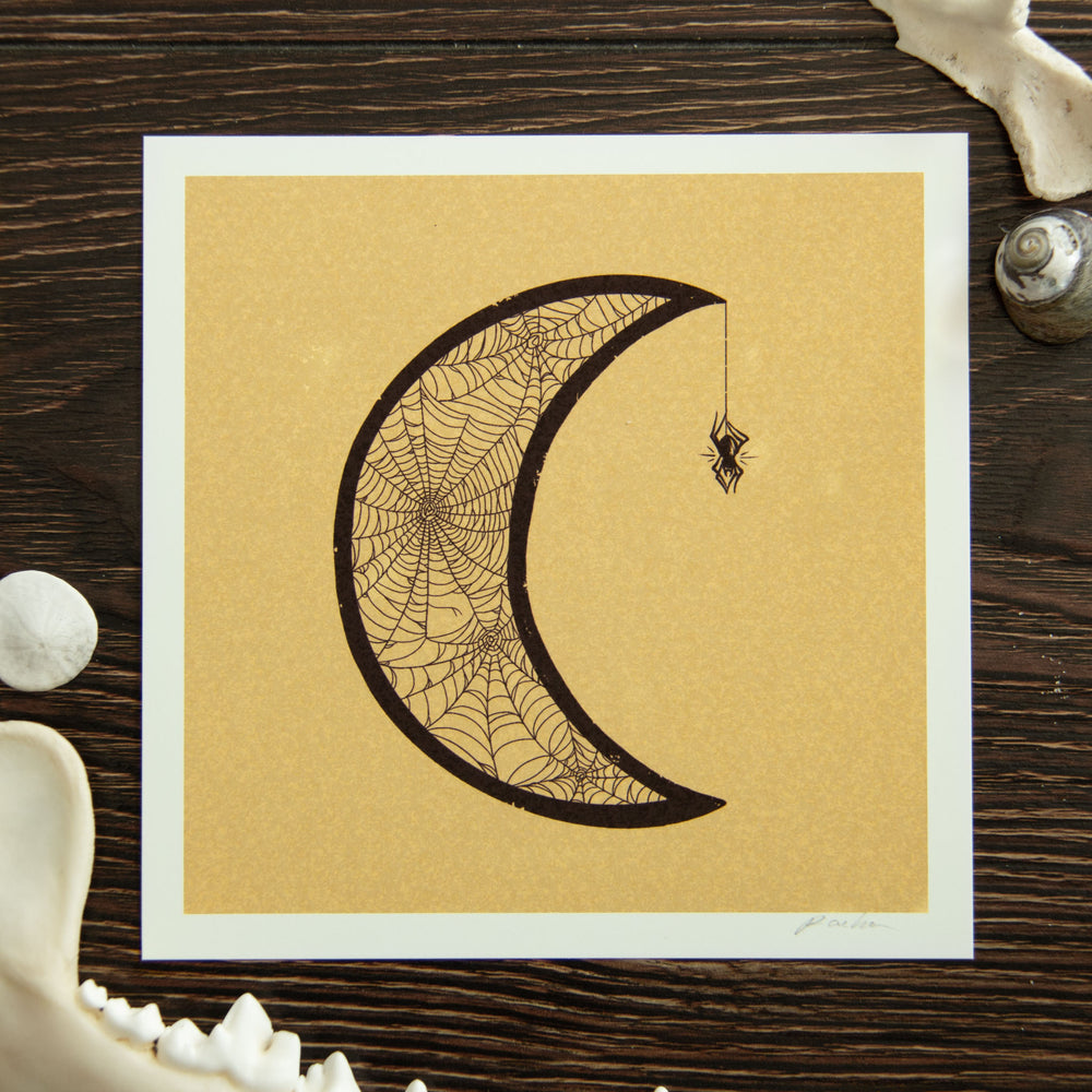 A witchy art print of a crescent moon made for spiderwebs. Great for victorian goth home decor.