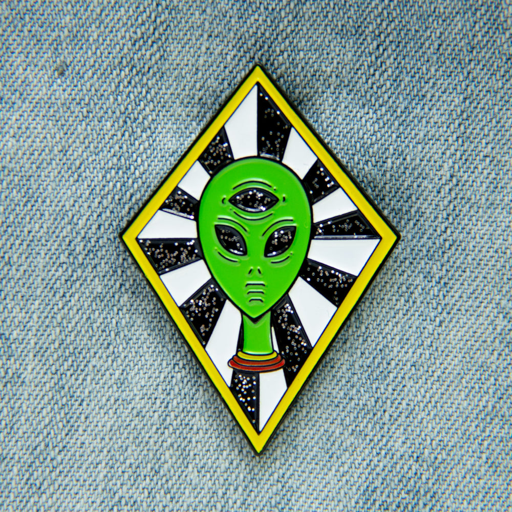 Third Eye Alien Enamel Pin with Glitter