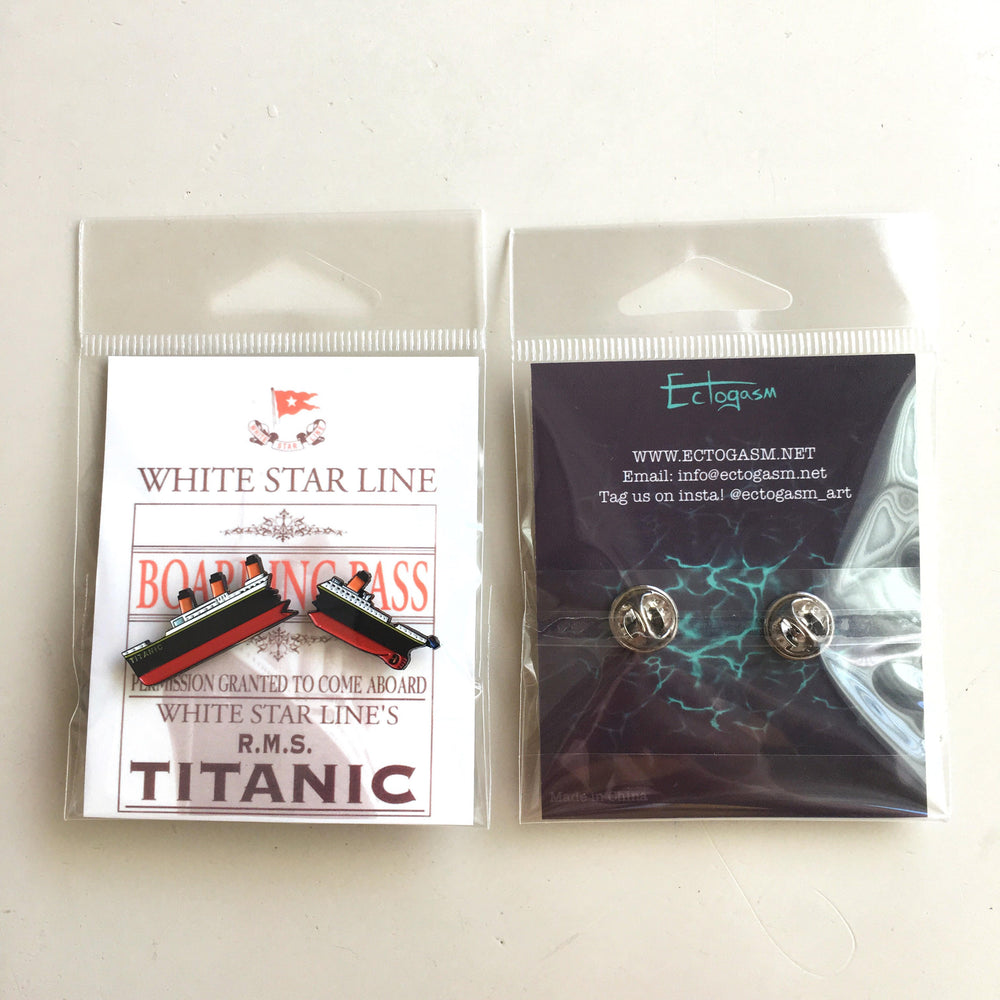 A Titanic enamel pin on packaging that looks like White Star Line's boarding ticket.