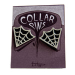 Ectogasm enamel pin jewelry set of two cobweb collar pins.