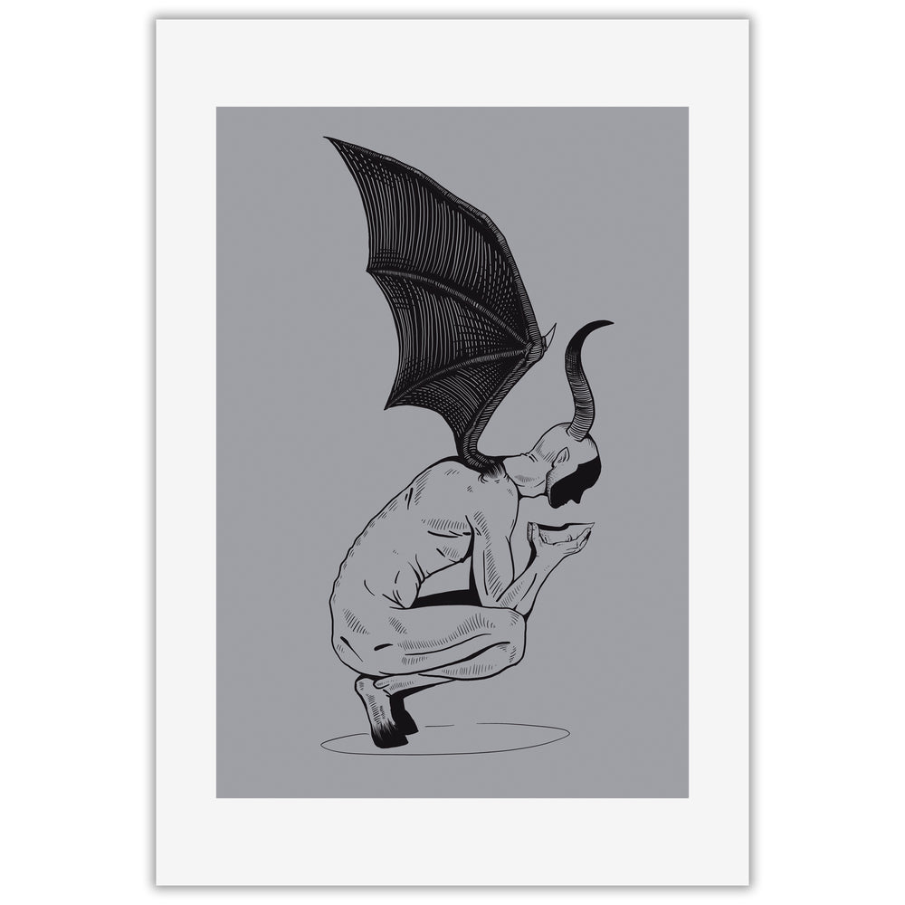 A spooky art print of a winged demon removing a human looking mask from its face.