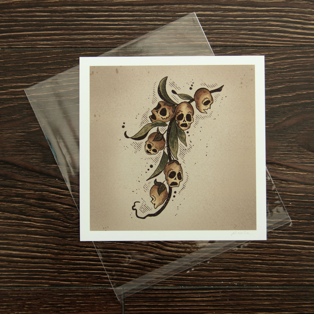 A witchy botanical art print, signed by the artist and in a protective sleeve.