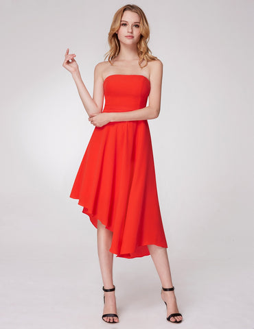 Red strapless dress - Stylish Lady