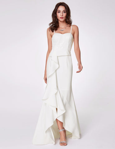 Spaghetti Strap White Formal Dress