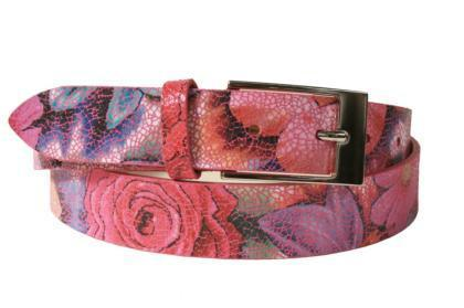 Leather belt with a floral print