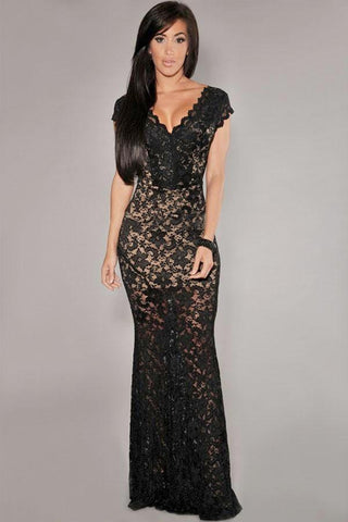 low-back lace dress - Stylish Lady