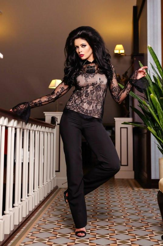 Black Lace Vintage Style Blouse - Stylish Lady