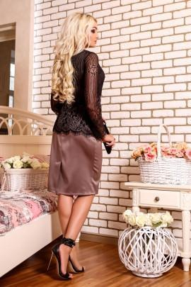 Taupe Satin and Lace Dress
