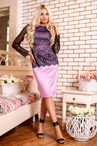 Satin and Lace Dress - Stylish Lady