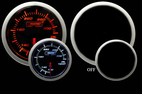 ProSport Oil Temp. Gauge With Electric Sender Amber/White 52mm
