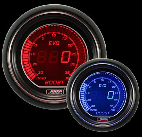 ProSport Digital Boost Gauge Electrical w/Sender PSI 52mm Red/Blue