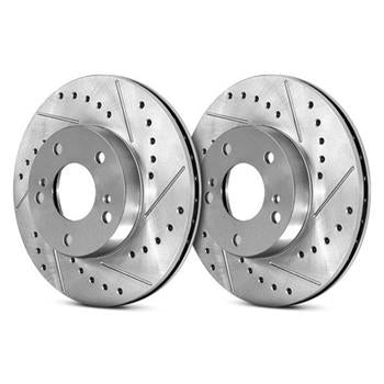 Stoptech C-Tek Sport Drilled and Slotted Front Rotor Pair Mitsubishi EVO 8/9 03-06