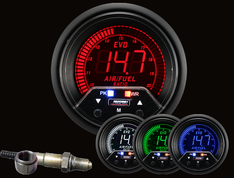 ProSport Premium EVO Wideband Air Fuel Ratio Gauge w/ Sensor 60mm Multi Colored