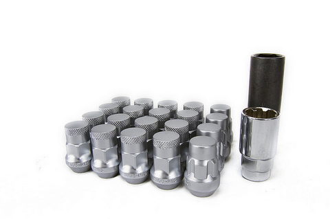 Muteki SR35 Close End Lug Nuts w/Lock Set - Silver 12x1.25 35mm