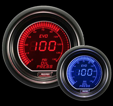ProSport Digital Oil Pressure Gauge Electrical w/Sender 52mm Red/Blue