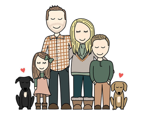 Hand Drawn Family Portrait - best mother's day gift