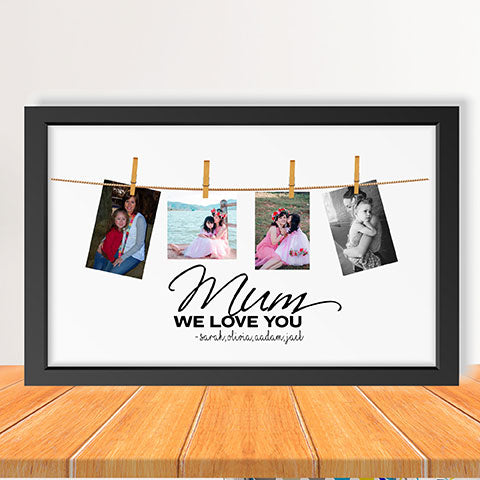 Personalised Mum photo collage, peg photos print, photo pegs framed print, Mum photo gift