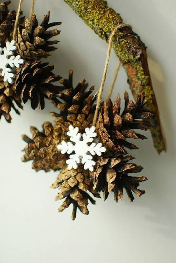 Christmas decor with pine cones