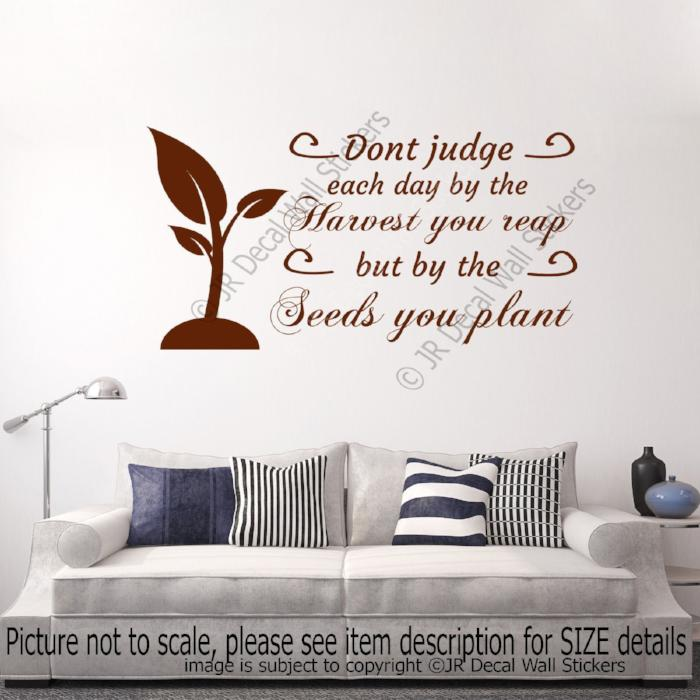 """Don't judge each day"" - Motivational stickers for walls Removable vinyl wall decals"