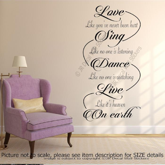 love sing dance inspirational quote vinyl wall sticker home decals