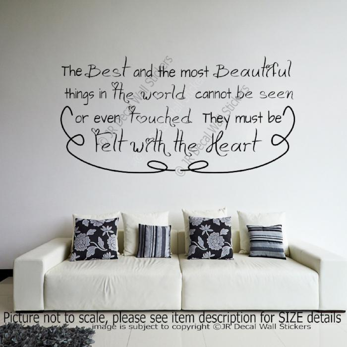 """The Best and the most Beautiful"" Inspiring Quote wall art Decals Vinyl Stickers"