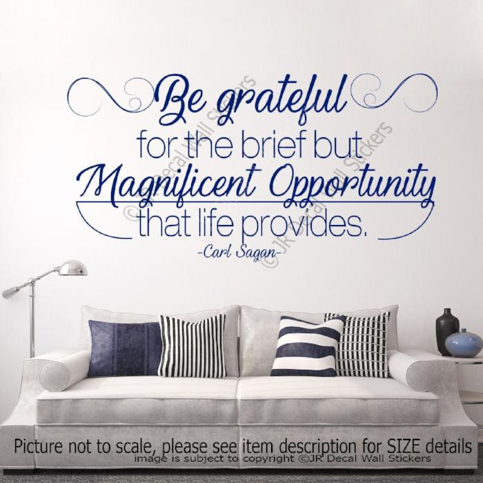 """Be grateful"" Carl Sagan Inspiring Quote Wall Decal Office, School Vinyl Sticker"