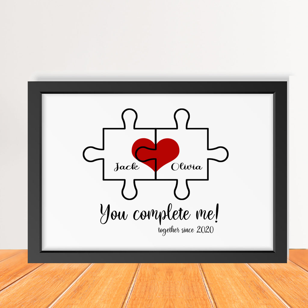 Personalised Jigsaw puzzle Heart print for Couple